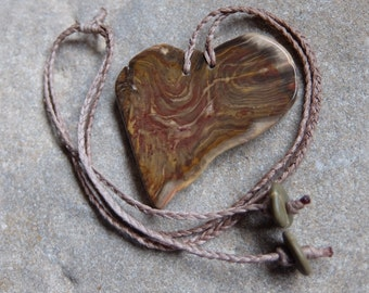 Large Petrified wood heart -  Gem stone heart - fossilized wood as necklace adjustable length, handmade in Australia