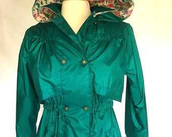 Vintage 70s TEAL Green RAINCOAT / Detachable Hoodie / Rothschild Coat Womens Size 14 Medium Large