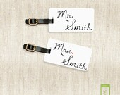 Personalized Luggage Tags Mr and Mrs Metal Last Name on Front, Printed Address, Quote or Text On Back All METAL tags VERSION 2