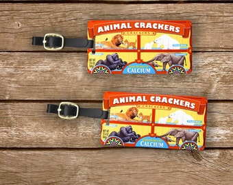 Personalized Luggage Tags Animal Crackers Retro Cookies Circus Animals  - Full Metal Tags Luggage Tag Set, 2 Tags Custom info on Backs