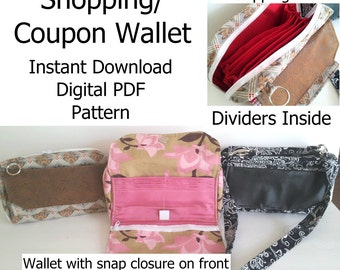 Shopping Wallet Pattern, Coupon Organizer Pattern, Wallet Digital PDF, Credit Card Wallet Purse Pattern, Zippered Divider Wallet Pattern