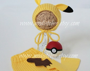 Pikachu Pokemon Newborn Photography Prop (Whole Set) Free Pokeball
