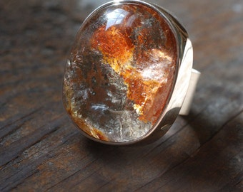 Ochre Ring Lodalite Quartz with Hematite