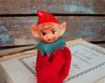 Vintage Christmas Elf Elves Pixie Shelf Sitter Ornament 1940s Doll Decoration Mid Century Retro Christmas Kitsch