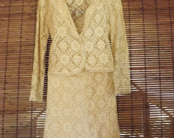 Vintage 70s Beige Lace Skirt and Sheer lace blazer suit  S Free Shipping
