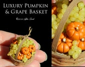 Luxury Pumpkin & Grape Artisan Basket - Artisan fully Handmade Miniature Dollhouse Food in 12th scale.