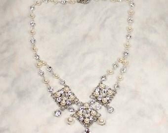 Baylee Bridal Necklace, Bridal Statement Necklace, Boho Wedding Necklace, Bohemian Bridal Pearl Necklace, Ivory Pearl & Crystal Bib Necklace