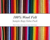 100% Wool Felt Sample Bags Value Pack