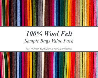 Wool Craft Felt & Designer Wool Felt Samples Value Pack - 100% Wool Felts, Includes Samples for 4 Types of Felt