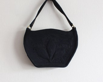 1940s Bag / Vintage Short Strap Black Corded Bag