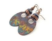 Enameled Metal Earrings - Artisan Earrings - Industrial Earrings -Dark Blue Earrings -Boho Earrings -Copper Earrings -Multi Colored - AE036
