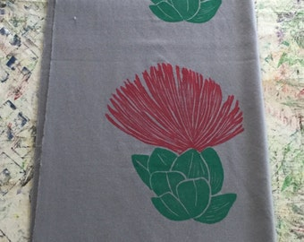 Shawl, Grey with Red and Green ʻŌhiʻa Lehua Blossom Block Print