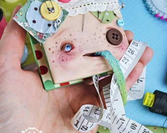 Agujilia Bottonna - Living measuring tape - magical creatures mascot sewing creature fantasy art doll  tape measure buttons