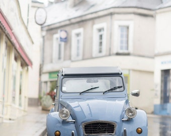 France Photograph - Blue Citroen, , French Car, French Country Home Decor, Fine Art Photograph, Large Wall Art