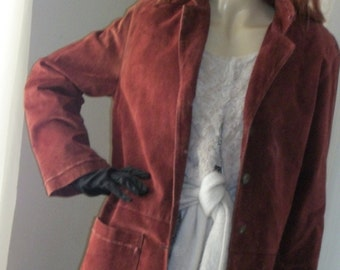Vintage Deep Garnet Red Suede Carol Little Jacket with Top Stitching Detail Size Med