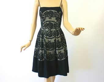 Vintage 50s Cocktail Dress Black Cotton Pique' w Black Lace over White Party Sundress by Kim Kory  Bust 38