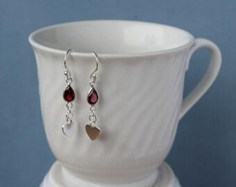 Garnet gemstone briolette (7mm), sterling silver dangle earrings. January gemstone