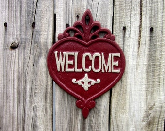 Welcome Plaque, Cast Iron, Painted, Barn Red, Gray, Welcome Sign, Door Welcome Sign, Ornate Welcome Plaque, Indoor, Outdoor, Welcome