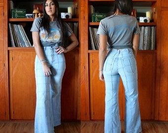 Vintage 70s Pintucked Denim BELL BOTTOM Jeans Boho Hippie S