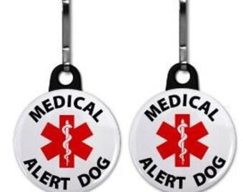 MEDICAL ALERT DOG Medical Alert 2-Pack of Zipper Pull Charms (Choose Size andnBacking Color)