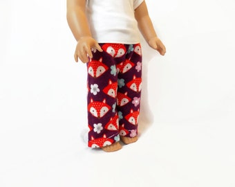 Doll Pajama Pants, 18 Inch Doll Clothes, Fox Print Pajama Pants