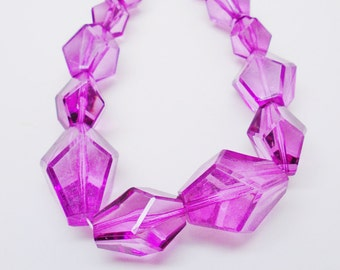 Vintage Big Purple Lucite Faceted Chunks Mod Necklace Choker Retro Art Deco Crystal  Ice Beads Bridal  Boho Hippie Runway Statement