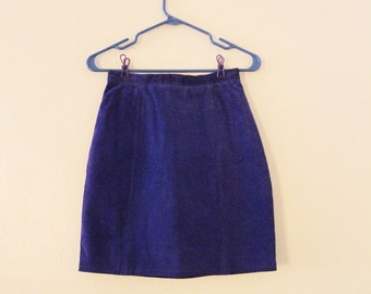 80's Royal Blue Suede Skirt