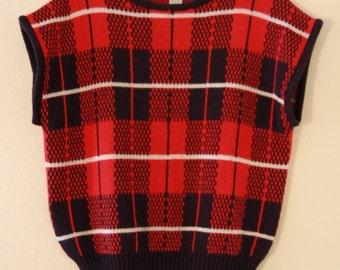 80's Plaid Sweater Vest