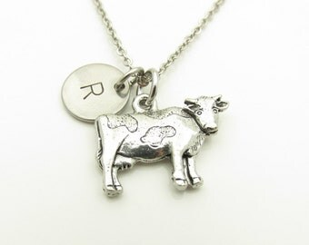 Cow Necklace, Cow Charm Necklace, Personalized, Initial Necklace, Antique Silver Cow, Farm Cow, Farm Animal Charm, Monogram Necklace Y336