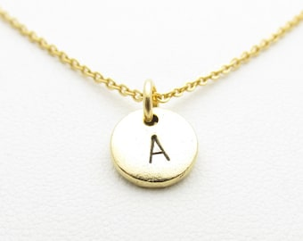 Initial Necklace, Personalized Initial Charm, Antique Gold Hand Stamped Disc, Monogram Necklace Z001