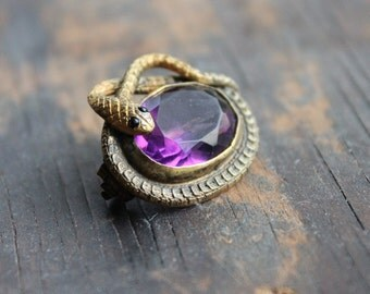 Victorian Snake Wedding Brooch / Antique Serpent Jewelry / Amethyst Ruby Serpent Love Token / Engagement Gift