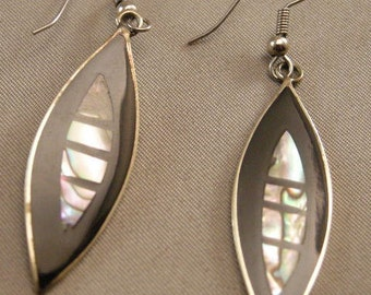 Mexican Abalone and Jet Black Enamel Shell WireDangle Earrings