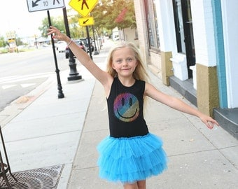 Emoji Birthday, Girls Tutu Dress, Party Dress, Girls Couture Dress, Tween Dress, Turquoise Dress, Rainbow Emoji, Smiley Face