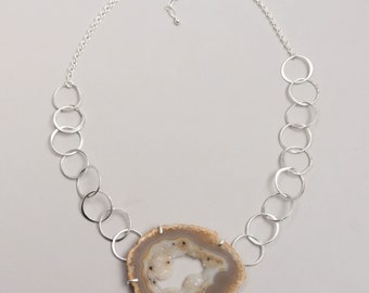 Sterling Silver and Ocho Agate Drusy Slice Pendant Necklace, Handmade Sterling Silver Chain with Agate Pendant, Statement Necklace