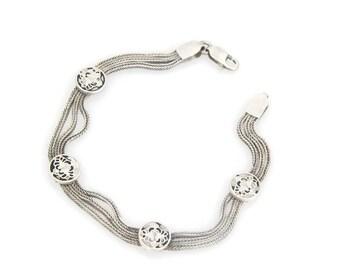 Vintage Sterling Silver Medallion Bracelet Victorian Revival Bracelet Vintage Chain Bracelet