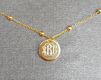 Mini Monogram Disc Necklace - Small Circle Engraved Monogram - Minimalist Jewelry - Minimal Necklace
