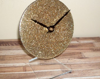 Gold Glitter Desk Clock on Clear Acrylic Stand, SILENT Bling Desk Clock, 5 Inches - 2164