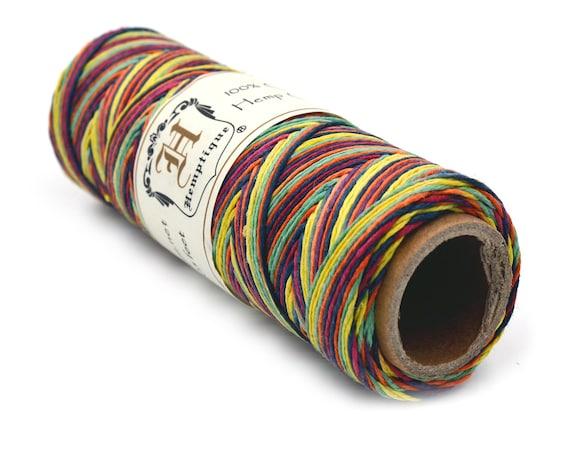 Rainbow Hemp Twine, 10lb, Spool,  0.5mm,   205 Feet, Thin Hemp, Rainbow Hemp Cord -TW24