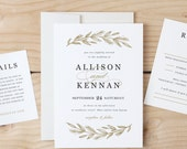 Printable Wedding Invitation Template   Simple Wreath   Word or Pages   MAC or PC   Editable Artwork Colors - instant DOWNLOAD