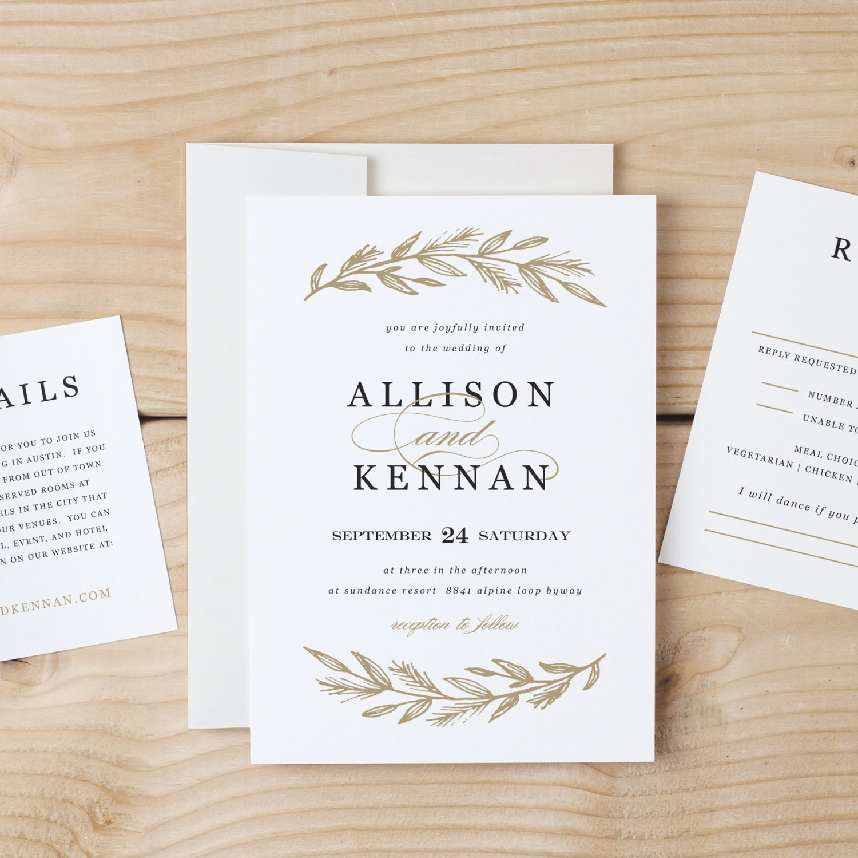 Downloadable Wedding Invitation Templates: Printable Wedding Invitation Template Simple Wreath Word