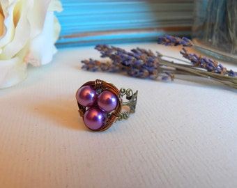 Sweet Bird's Nest, Adjustable Ring, Wire Wrapped Glass Pearls - Handmade Jewelry by HoneyNest