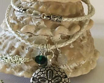 Necklace-Sanddollar Pendant With Charms on Metallic White Braided Bolo Leather Cord-Sea-Sand-Ocean-Beach Boho Jewelry-Antiqued Silver-Her