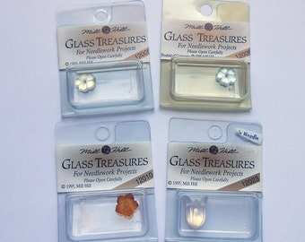 Mill Hill Glass Treasures - Embellishments - Assorted Flowers - Lot of 4 - Free U.S. Shipping