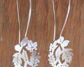Handmade Silver Hook Earrings - Dancing Leaves Hook Earrings - Woodland Jewellery - Large Silver Earrings