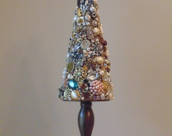 "Stunning Upcycled Rhinestone Jewelry Tree Home Decor Holiday Shabby Assemblage ""Crown Jewels"" FREE SHIPPING"