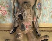SALE antique, primitive, farmhouse style, feed sack, Bunny, rabbit, spring, Easter, artist made ~ Brady Bears Studio ~ faap, hafair