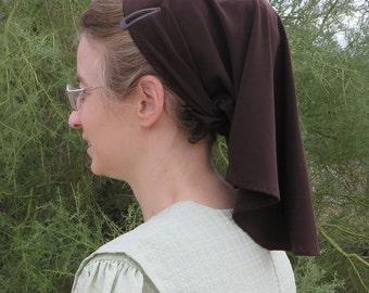 Prayer Veiling Headcovering Brown Knit Tie Scarf for Christian Women veil