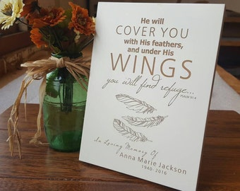 Personalized Memorial Plaque, wings memorial gift, feather memorial gift, Funeral, Sympathy gift, Memorial Gift, Engraved Sympathy Gift