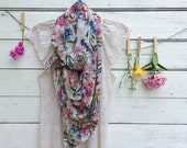 Floral Scarf, Sheer Scarf, Summer Scarf, Long Scarf, Wrap, Shawl, Wildflowers Scarf, Gift for Her, Jannysgirl