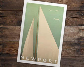 FREE CUSTOMIZATION Geometric Sailboat Print Sails Archival pigment PRINT by Ryan Fowler Mid Century Modern